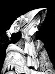 1girl bangs black_background bloodborne bonnet capelet cloak commentary crossed_arms doll_joints floral_print from_side greyscale hand_up hat highres joints kuropin long_sleeves monochrome plain_doll profile solo_focus upper_body