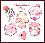 :d artsy-rc audino blissey character_request commentary english_commentary flower gen_2_pokemon gen_3_pokemon gen_5_pokemon highres holding holding_flower looking_at_viewer luvdisc open_mouth pink_theme pokemon pokemon_(creature) smile striped striped_background trait_connection valentine
