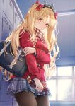 1girl bag bangs blonde_hair blue_skirt blush bow box breasts brown_legwear brown_scarf closed_mouth commentary_request ereshkigal_(fate) eyebrows_visible_through_hair fate/grand_order fate_(series) gift gift_box grey_skirt hair_between_eyes hair_bow highres holding holding_gift indoors jacket long_hair long_sleeves looking_at_viewer medium_breasts pantyhose parted_bangs plaid plaid_skirt pleated_skirt red_bow red_eyes red_jacket scarf school_bag shoe_locker shoulder_bag skirt small_breasts solo sweat thighs tiara two_side_up valentine very_long_hair window yumesaki