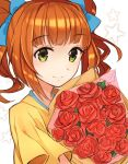 1girl bangs blue_bow bouquet bow brown_hair closed_mouth eyebrows_visible_through_hair flower green_eyes hair_bow holding holding_bouquet idolmaster idolmaster_(classic) long_hair red_flower red_rose rose shiny shiny_hair shirt short_sleeves smile solo suzumo70 takatsuki_yayoi twintails upper_body white_background yellow_shirt