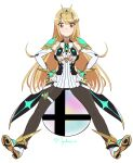 1girl absurdres artist_name blonde_hair detached_sleeves hands_on_hips highres long_hair looking_at_viewer myahogao mythra_(xenoblade) simple_background sitting smash_ball spread_legs super_smash_bros. tiara xenoblade_chronicles_(series) xenoblade_chronicles_2 yellow_eyes