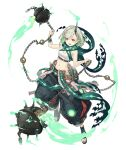 1girl :d bracelet breasts chain explosive eyebrows_visible_through_hair fire full_body green_hair horns jewelry ji_no little_match_girl_(sinoalice) looking_at_viewer midriff mine_(weapon) navel official_art open_mouth red_eyes sandals scarf short_hair single_horn sinoalice small_breasts smile solo transparent_background upper_teeth