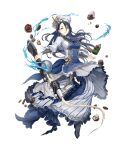 1girl apron blue_hair breasts chef_hat chef_uniform chocolate frills full_body gold_trim gun hair_over_one_eye hat ji_no kaguya_hime_(sinoalice) large_breasts long_hair looking_at_viewer official_art rifle sinoalice skull smile solo transparent_background weapon whipped_cream