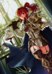1girl absurdres anna_(fire_emblem) armor armored_dress axe belt bird capelet feh_(fire_emblem_heroes) fire_emblem fire_emblem_cipher fire_emblem_heroes garter_straps gloves gold_armor highres official_art over_shoulder owl ponytail red_eyes redhead thigh-highs weapon weapon_over_shoulder zettai_ryouiki