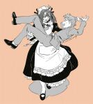 1boy 1girl apron bangs character_name formal hair_behind_ear highres maid maid_apron maid_headdress monochrome open_mouth orange_background original suit umishima_senbon v-shaped_eyebrows