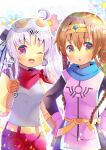 2girls :o ;d ahoge akizuki_(kancolle) bandana bangs black_dress blue_flower bow braid breasts brown_eyes brown_gloves circlet cosplay dragon_quest dragon_quest_dai_no_daibouken dress elbow_gloves eyebrows_visible_through_hair floral_background flower gloves grey_eyes hair_between_eyes hair_bow hands_on_hips holding kantai_collection kouu_hiyoyo long_hair looking_at_viewer maam maam_(cosplay) mask mask_on_head multiple_girls one_eye_closed open_mouth parted_bangs parted_lips penne_(zoids_wild) penne_(zoids_wild)_(cosplay) pink_flower pink_gloves red_shorts shirt shorts side_ponytail silver_hair sleeveless sleeveless_shirt small_breasts smile striped striped_bow teruzuki_(kancolle) tunic twin_braids very_long_hair violet_eyes white_shirt wrench zoids zoids_wild