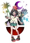 1girl :d beanie black_hair blush commentary_request crescent eyelashes gen_7_pokemon green_shorts grey_eyes hat head_tilt highres holding holding_poke_ball kisama looking_at_viewer on_shoulder open_mouth pigeon-toed poke_ball poke_ball_(basic) pokemon pokemon_(creature) pokemon_(game) pokemon_on_shoulder pokemon_sm rowlet selene_(pokemon) shirt shoes short_sleeves shorts smile standing starter_pokemon teeth tied_shirt tongue z-ring