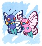 alternate_color animal_focus bandana blank_eyes blue_background border bug butterfly butterfree clothed_pokemon commentary_request fangs flying full_body gen_1_pokemon insect looking_at_another muguet no_humans pokemon pokemon_(anime) pokemon_(classic_anime) pokemon_(creature) red_eyes shiny_pokemon simple_background sparkle white_border yellow_neckwear