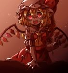 1girl :d ascot bangs blonde_hair bow breasts choker commentary_request cowboy_shot crystal fangs fingernails flandre_scarlet frilled_shirt_collar frills glowing glowing_eyes gradient gradient_background hair_between_eyes hat hat_bow highres looking_down mob_cap nail_polish neck_ribbon no_nose one_side_up open_mouth pink_background puffy_short_sleeves puffy_sleeves red_bow red_eyes red_nails red_skirt red_vest ribbon ribbon_choker salt_(seasoning) sharp_fingernails short_hair short_sleeves simple_background skirt skirt_set slit_pupils small_breasts smile solo touhou vest white_bow white_headwear wings wrist_ribbon yellow_neckwear