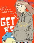1girl alternate_costume arrow_(symbol) bangs brown_hair closed_mouth commentary_request donnpati gen_3_pokemon grey_eyes grey_hoodie hand_in_pocket highres hood hoodie looking_at_viewer may_(pokemon) orange_background outline pokemon pokemon_(creature) pokemon_(game) pokemon_rse red_bandana smile spheal translation_request