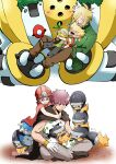 4boys absurdres akanboh barry_(pokemon) black_footwear blonde_hair blush brown_cape brown_pants byron_(pokemon) cape closed_eyes coat commentary_request cracked_egg cranidos father_and_son gen_4_pokemon gloves green_coat green_scarf grey_pants head_down helmet highres hug legendary_pokemon male_focus multiple_boys open_mouth palmer_(pokemon) pants pokemon pokemon_(game) pokemon_dppt pokemon_egg regigigas roark_(pokemon) scarf shieldon shirt shoes short_sleeves sitting smile starter_pokemon teeth tongue turtwig white_shirt |d