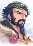 1boy artist_name bare_shoulders beard blonde_hair blue_eyes blue_hair collarbone commentary_request facial_hair fire_emblem fire_emblem_heroes flower gradient_hair gustav_(fire_emblem) half-closed_eyes highres hood laurel_crown male_focus multicolored_hair mustache nakabayashi_zun red_flower red_rose rose scar scar_on_face signature simple_background sleeveless solo thick_eyebrows upper_body white_background white_flower