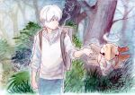 1boy absurdres backpack bag bangs bush cigarette clenched_hand collared_shirt commentary_request crossover day donnpati gen_3_pokemon ginko highres male_focus mushishi outdoors pants pokemon pokemon_(creature) shedinja shirt short_hair smoking tree white_hair
