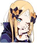 1girl ;) abigail_williams_(fate) absurdres bandaid bandaid_on_hand bangs black_bow black_jacket blonde_hair blue_eyes blush bow brown_bow closed_mouth cropped_torso crossed_bandaids fate/grand_order fate_(series) hair_bow hands_up highres jacket long_hair long_sleeves looking_at_viewer one_eye_closed parted_bangs signature simple_background smile sofra solo twitter_username upper_body white_background