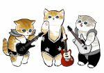 :< animal armor black_leotard brown_fur cat electric_guitar grey_fur guitar heavy_metal highres instrument kitten leotard mofu_sand music orange_fur original paw_up paws playing_instrument