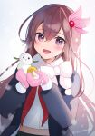 1girl absurdres black_coat brown_hair coat commentary_request highres kantai_collection kisaragi_(kancolle) long_hair looking_at_viewer pink_mittens red_neckwear scarf school_uniform serafuku simple_background smile snowman solo upper_body violet_eyes white_background white_scarf yunamaro