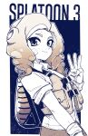 1girl closed_mouth collared_shirt copyright_name drill_hair facing_away fingernails hand_up highres ink_tank_(splatoon) korina_(mrpuripurin) long_hair looking_at_viewer octarian octoling shirt short_sleeves smile solo splatoon_(series) splatoon_3 suction_cups tentacle_hair vest w wristband