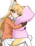 1girl absurdres animal_ear_fluff animal_ears bangs black_gloves black_hair blonde_hair body_pillow bow bowtie expressionless extra_ears eyebrows_visible_through_hair ezo_red_fox_(kemono_friends) fox_ears fox_girl fur-trimmed_sleeves fur_trim gloves gradient_hair hair_between_eyes highres jacket kemono_friends long_hair long_sleeves looking_at_viewer multicolored multicolored_clothes multicolored_hair multicolored_legwear necktie orange_jacket pillow pillow_hug pleated_skirt shiraha_maru simple_background skirt solo tail very_long_hair white_background white_bow white_legwear white_neckwear white_skirt yellow_eyes yellow_legwear yellow_neckwear