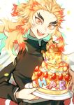 1boy :d absurdres blonde_hair cake candle cape english_text eriario fire food fruit hair_intakes happy_birthday highres holding holding_plate huge_filesize icing kimetsu_no_yaiba male_focus multicolored multicolored_eyes open_mouth orange_eyes orange_hair plate rengoku_kyoujurou simple_background smile solo strawberry teeth thick_eyebrows tsurime white_background white_cape yellow_eyes
