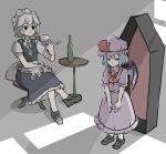 <o>_<o> 2girls alcohol apron bat_wings blue_dress blue_hair bow braid brooch coffin commentary cravat crossed_legs cup dress drinking_glass expressionless frilled_apron frilled_shirt frilled_shirt_collar frilled_skirt frilled_sleeves frills green_bow hair_bow hat hat_ribbon highres holding holding_cup izayoi_sakuya jewelry light_purple_hair maid maid_apron maid_headdress medium_hair mob_cap multiple_girls no_pupils peroponesosu. pink_dress puffy_short_sleeves puffy_sleeves purple_hair red_bow red_eyes red_ribbon red_wine remilia_scarlet ribbon ribbon_trim sash shadow shirt short_hair short_sleeves silver_hair skirt sunlight table touhou twin_braids waist_apron wine wine_glass wings