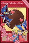 1boy 1girl artist_name blonde_hair blue_eyes blue_footwear blush_stickers boots card_(medium) colored_skin commentary dark_magician dark_magician_girl dated duel_monster green_eyes green_skin hair_between_eyes happy_valentine hat heart highres holding holding_staff long_hair looking_at_viewer open_mouth outline smile soya_(sys_ygo) staff valentine wizard_hat yu-gi-oh!