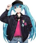 1girl bangs baseball_cap belt belt_buckle black_cardigan black_headwear blue_eyes blue_hair blue_nails blue_pants brown_belt buckle cardigan collarbone denim eyebrows_visible_through_hair floating_hair hair_between_eyes hand_in_pocket hat hatsune_miku headphones headphones_around_neck highres long_hair long_sleeves looking_at_viewer macha_3939 nail_polish open_cardigan open_clothes pants parted_lips red_shirt shiny shiny_hair shirt simple_background solo standing very_long_hair vocaloid white_background