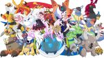 .live 1girl absurdres blush breasts butterfree carro_pino commentary_request full_body gen_1_pokemon highres kabuto_(pokemon) long_hair one_eye_closed open_mouth pokemon pokemon_(creature) purple_hair rikuton scyther simple_background smile solo virtual_youtuber white_background