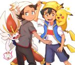 2boys :d arm_up ash_ketchum bangs beanie black_hair blue_jacket brown_eyes chitozen_(pri_zen) cinderace gen_1_pokemon gen_8_pokemon goh_(pokemon) hat jacket male_focus multiple_boys open_mouth pants pikachu pokemon pokemon_(anime) pokemon_(creature) pokemon_swsh_(anime) scorbunny shirt short_sleeves shorts side_slit signature sleeveless sleeveless_jacket smile symbol_commentary t-shirt teeth tongue white_shirt yellow_headwear