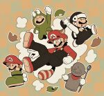 1boy absurdres animal_costume animal_ears black_overalls brown_hair clenched_hand eyebrows_visible_through_hat facial_hair frog_costume hat helmet highres holding holding_staff leaf looking_to_the_side male_focus mario mario_(series) multiple_views mustache omura_zojiki open_mouth overalls raccoon_ears raccoon_tail red_headwear shoes staff statue super_mario_bros._3 tail