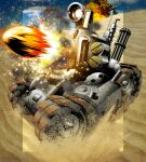 action battle caterpillar_tracks clouds desert explosion gatling_gun godtail ground_vehicle highres metal_slug military military_uniform military_vehicle motor_vehicle no_humans sky smoke snk sv001_(metal_slug) tank tank_shell uniform