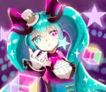 1girl blue_eyes blue_hair floating_hair gloves hat hatsune_miku highres long_hair looking_at_viewer macha_3939 magical_mirai_(vocaloid) mini_hat one_eye_closed parted_lips purple_background sketch solo twintails upper_body very_long_hair vocaloid white_gloves white_headwear