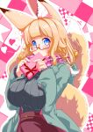 1girl amino_dopple animal_ears blonde_hair blue_coat blue_eyes blush box breast_squeeze breasts coat covered_mouth enpera fox_ears fox_tail gift gift_box glasses grey_sweater hands_up heart holding holding_gift honami_mikura_(amino_dopple) hooded_coat large_breasts long_sleeves looking_at_viewer open_clothes open_coat original pink_scarf red-framed_eyewear red_skirt ribbed_sweater scarf semi-rimless_eyewear skirt solo sweater tail under-rim_eyewear upper_body valentine
