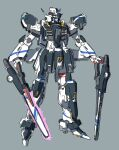 absurdres blue_eyes grey_background gundam highres holding holding_sword holding_weapon kuroba_yotsuha looking_to_the_side mecha mobile_suit no_humans original science_fiction sketch solo standing sword v-fin weapon