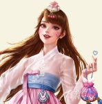 1girl bag bangs brown_eyes brown_hair cropped d.va_(overwatch) dospi facepaint facial_mark fingernails flower hair_ornament hanbok heart jewelry korean_clothes lips long_hair long_sleeves nose open_mouth overwatch pink_lips see-through see-through_sleeves smile solo swept_bangs teeth traditional_clothes upper_body whisker_markings