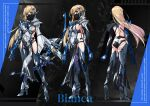 1girl absurdres ass bianca_(punishing_grey_raven) blonde_hair boots bow_(weapon) breasts butt_crack character_name character_sheet covered_navel floating_hair from_behind head_tilt high_heel_boots high_heels highres holding holding_bow_(weapon) holding_weapon long_hair mask medium_breasts mouth_mask multiple_views paintedmike punishing:_gray_raven sideboob standing thigh-highs thigh_boots weapon yellow_eyes