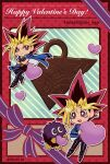 2boys artist_name blonde_hair blue_jacket card_(medium) closed_mouth commentary dated duel_monster happy_valentine heart highres holding jacket kuriboh male_focus millennium_puzzle multicolored_hair multiple_boys mutou_yuugi outline pants purple_ribbon ribbon shirt shoes smile soya_(sys_ygo) spiky_hair valentine yami_yuugi yu-gi-oh!