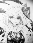 +_+ 1girl closed_mouth collared_shirt commentary greyscale hair_ornament hands_up highres magic medium_hair monochrome nail_polish photo_(medium) rumia shirt shukusuri smile solo touhou traditional_media upper_body vest wing_collar