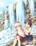 2girls animal_ears arm_behind_head bangs black_hair black_skirt blanket blue_sky calcmis_gowa clouds commentary_request day detached_sleeves eyebrows_visible_through_hair feet_out_of_frame foot_out_of_frame frozen hat highres ice inubashiri_momiji knee_up kneehighs kneeling leaf_print long_sleeves looking_back multiple_girls open_mouth outdoors parted_bangs pom_pom_(clothes) red_eyes red_headwear shameimaru_aya short_hair silver_hair sitting skirt sky smile snow socks tokin_hat touhou tree two-tone_shirt water waterfall white_legwear winter wolf_ears