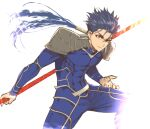 1boy abs armor blue_eyes commentary_request cowboy_shot cu_chulainn_(fate)_(all) dangle_earrings earrings fate/grand_order fate_(series) gae_bolg_(fate) h-y-d holding holding_spear holding_weapon jewelry lancer long_hair long_sleeves male_focus polearm ponytail red_eyes shoulder_armor simple_background smile solo spear spiky_hair weapon white_background