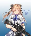 1girl artist_logo blouse blue_background blue_skirt brown_eyes commentary_request cowboy_shot dated gradient gradient_background gun highres holding holding_gun holding_weapon johnston_(kancolle) kantai_collection ld_(luna_dial398) light_brown_hair long_hair looking_at_viewer official_alternate_costume rifle skirt sniper_rifle sniper_scope solo two_side_up weapon weapon_request white_blouse
