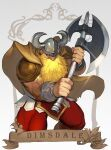 1boy armor axe battle_axe big_nose blonde_hair cape character_name dimsdale dungeons_&_dragons:_shadow_over_mystara dungeons_and_dragons dwarf english_commentary faulds gold_armor highres holding holding_axe horned_headwear huge_weapon leggings male_focus morry muscular muscular_male nose pauldrons red_legwear shoulder_armor solo thick_thighs thighs vambraces weapon
