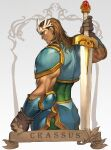 1boy armor breasts brown_gloves character_name crassus dungeons_&_dragons:_shadow_over_mystara dungeons_and_dragons elbow_pads forehead_jewel forehead_protector gloves highres holding holding_sword holding_weapon huge_weapon male_focus medium_hair morry muscular muscular_male nose pauldrons shoulder_armor solo sword sword_behind_back vambraces weapon