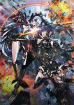 2girls absurdres black_hair boots breasts center_opening clenched_hand explosion fighting floating_hair highres holding holding_sword holding_weapon huge_filesize long_hair looking_down looking_up lucia_(punishing:_gray_raven) lucia_s_crimson_abyss mecha_musume medium_breasts multiple_girls paintedmike punishing:_gray_raven science_fiction skin_tight sword sword_clash thigh-highs thigh_boots twintails under_boob v-shaped_eyebrows weapon white_hair