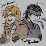 2boys :d bandana blonde_hair blue_eyes brothers dog_tags earrings english_text eyebrows_visible_through_hair fang gloves green_eyes grimace highres jewelry liquid_snake long_hair looking_at_another male_focus metal_gear_(series) metal_gear_solid multiple_boys noriuma open_mouth short_hair siblings smile solid_snake upper_body