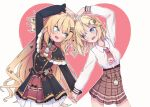 2girls :d akai_haato blonde_hair blue_eyes blush grey_background hair_ornament hairclip heart heart_arms_duo heart_background heart_hair_ornament holding_hands hololive hololive_english long_hair long_sleeves looking_at_another monocle_hair_ornament multiple_girls necktie open_mouth pocket_watch red_neckwear renpc ribbon short_hair smile twitter_username two_side_up virtual_youtuber watch watson_amelia