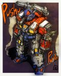 battle_convoy_v-max clenched_hands diaclone highres mecha moyan no_humans orange_eyes procreate_(medium) science_fiction shadow shoulder_cannon smoke solo standing