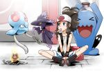 1girl antenna_hair baseball_cap blue_eyes blush boots brown_hair commentary_request diglett eyelashes food gen_1_pokemon gen_2_pokemon hat high_ponytail hilda_(pokemon) misdreavus mouth_hold pokemon pokemon_(creature) pokemon_(game) pokemon_bw popsicle shiny shiny_hair shirt shorts sidelocks sitting spread_legs sweat takuteks tentacool vest wet wet_clothes wet_shirt wobbuffet