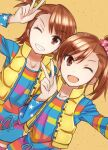 2girls ;d bangs blue_ribbon brown_hair collarbone eyebrows_visible_through_hair futami_ami futami_mami green_eyes green_scrunchie grin hair_ornament hair_scrunchie highres idolmaster idolmaster_(classic) long_hair long_sleeves looking_at_viewer multiple_girls one_eye_closed open_mouth pink_scrunchie plaid plaid_scrunchie polka_dot polka_dot_scrunchie ribbon scrunchie shiny shiny_hair shirt short_hair siblings side_ponytail sisters smile standing star_(symbol) star_print striped striped_shirt suzumo70 swept_bangs v w yellow_background