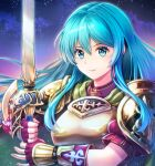 1girl aqua_eyes aqua_hair armor bangs breastplate closed_mouth eirika_(fire_emblem) fingerless_gloves fire_emblem fire_emblem:_the_sacred_stones fire_emblem_heroes gloves hair_between_eyes half_gloves holding_hands long_hair looking_at_viewer puffy_short_sleeves puffy_sleeves red_shirt shirt short_sleeves shoulder_armor shoulder_pads sidelocks solo sword umipro weapon