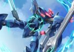 dual_wielding floating gamiani_zero glowing highres holding holding_sword holding_weapon looking_up mark_elf mecha no_humans science_fiction sky solo soukyuu_no_fafner sword visor weapon